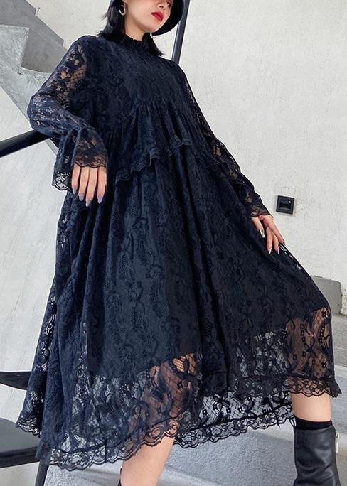 Organic lace Ruffles quilting clothes Photography black Dresses