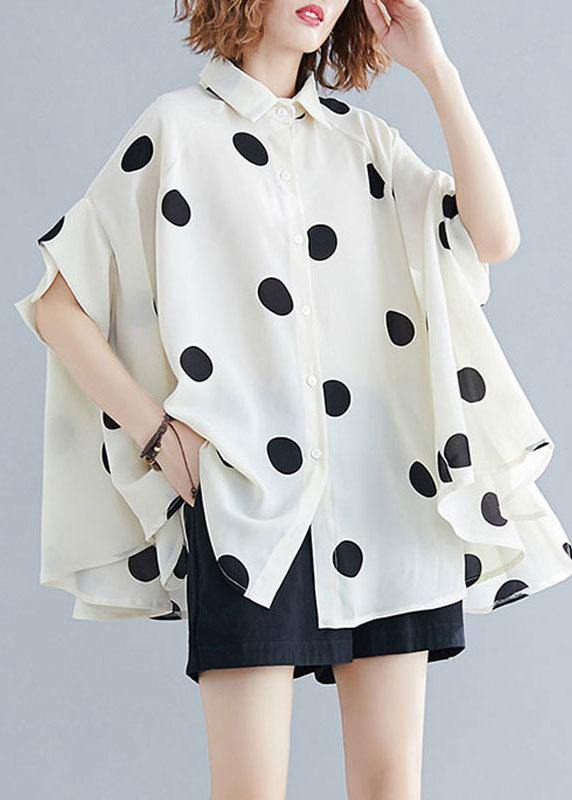 Organic lapel Ruffles box top Christmas Gifts nude dotted blouse