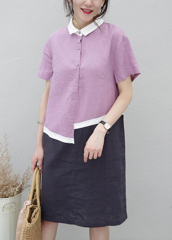 Organic lapel patchwork linen summerLong Shirts pattern purple Dress