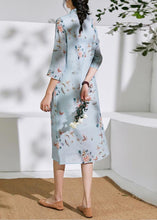 Load image into Gallery viewer, Organic light blue linen clothes stand collar half sleeve loose summer Dress