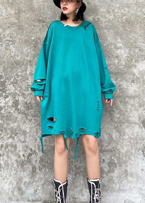 Organic o neck Hole spring Blouse blue green Knee shirt