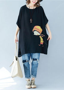 Organic o neck asymmetric linen summer Tunic Shirts black Dress