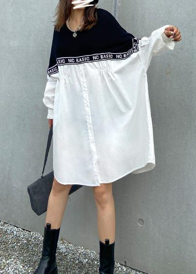 Organic o neck patchwork Photography black Letter Dresses