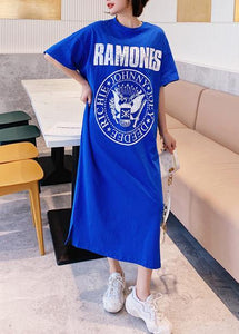 Organic o neck summer Tunics Catwalk blue Letter long Dress