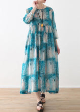 Load image into Gallery viewer, Organic o neck Cinched linen clothes For Women Catwalk blue Lady figure print Dress