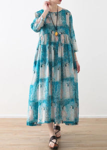 Organic o neck wrinkled linen clothes For Women Catwalk blue Lady figure print Dress