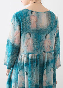 Organic o neck Cinched linen clothes For Women Catwalk blue Lady figure print Dress