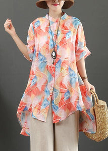 Organic orange print linen tops women stand collar low high design Art tops