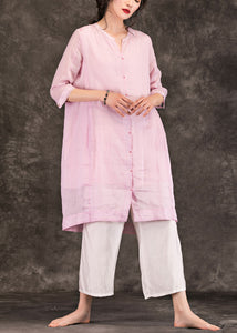 Organic pink linen Robes fine Sleeve o neck Half sleeve A Line Summer Dress