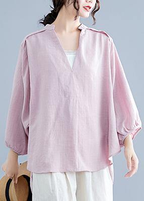 Organic pink linen cotton clothes For Women Shirts v neck batwing sleeve summer top