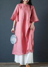 Load image into Gallery viewer, Organic pink linen dresses stand collar Chinese Button Plus Size Dress