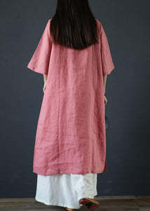 Organic pink linen dresses stand collar Chinese Button Plus Size Dress