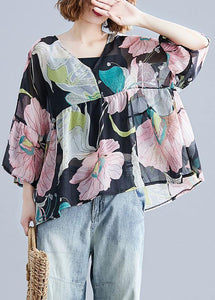 Organic print tops women o neck Petal Sleeve tunic blouse