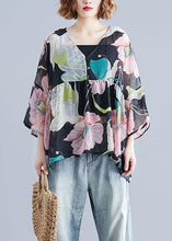 Load image into Gallery viewer, Organic print tops women o neck Petal Sleeve tunic blouse