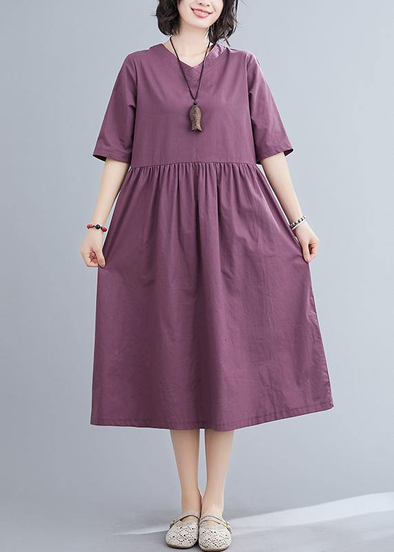Organic purple linen cotton clothes For Women v neck long summer Dresses