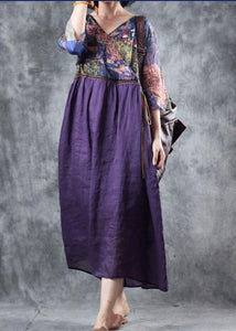 Organic purple linen dress patchwork Plus Size v neck Dress