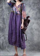 Load image into Gallery viewer, Organic purple linen dress patchwork Plus Size v neck Dress