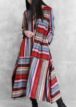 Load image into Gallery viewer, Organic red striped linen cotton clothes For Women side open Plus Size Clothing patchwork Dress
