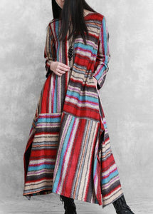 Organic red striped linen cotton clothes For Women side open Plus Size Clothing patchwork Dress
