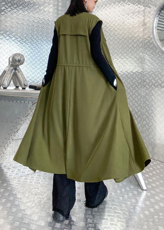Organic stand collar tie waist Fine clothes For Women army green Knee coats