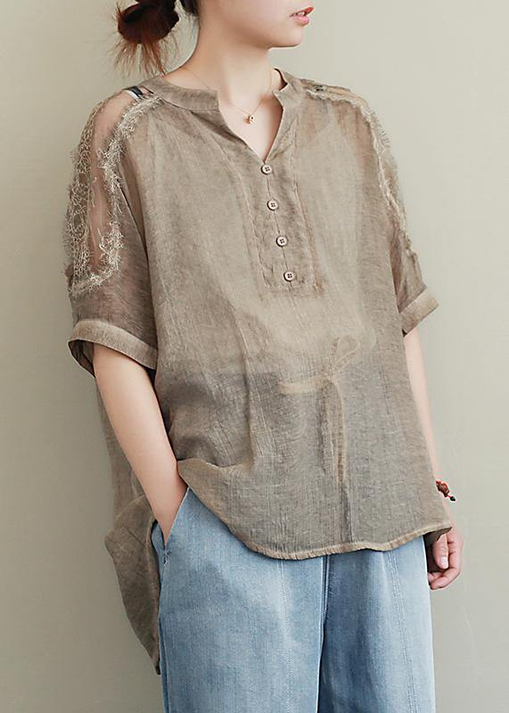 Organic v neck clothes Inspiration khaki lace top