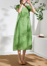 Load image into Gallery viewer, Organic v neck embroidery linen summer Robes Work green Dresses