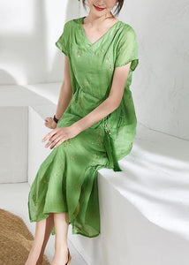 Organic v neck embroidery linen summer Robes Work green Dresses