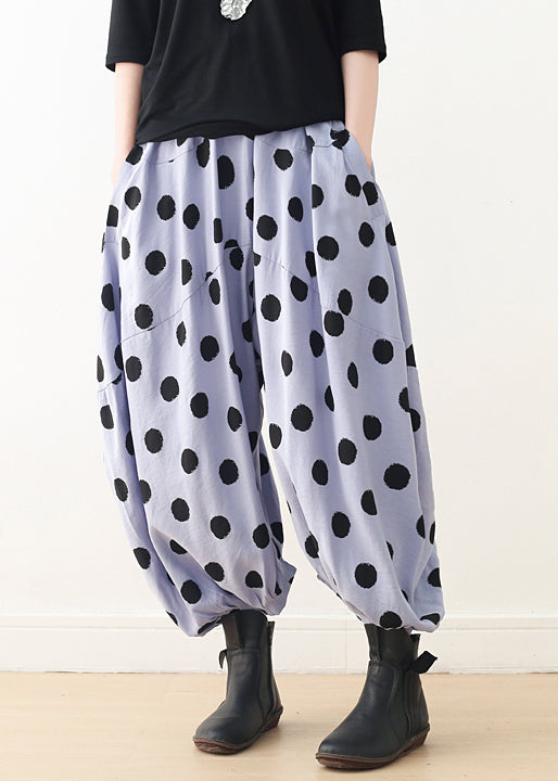 Organic wide leg pants Cotton clothes Women Shape blue dotted A Line pants spring