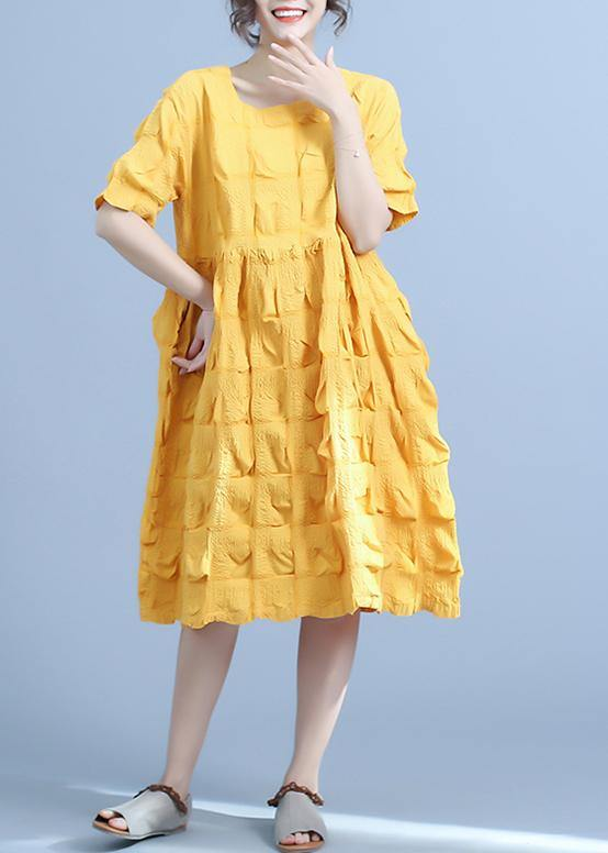 Organic yellow Women Casual Pleated cotton clothes Loose Short Sleeve Summer Dress