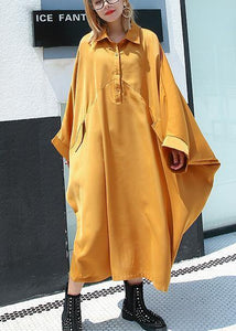 Organic yellow cotton dresses batwing sleeve cotton robes summer Dress