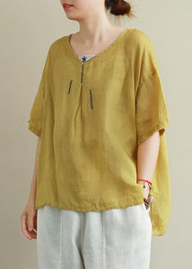 Top in lino con ricamo giallo organico top con scollo a V da donna
