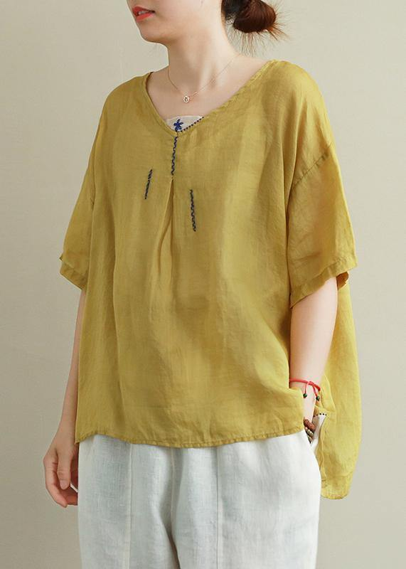 Organic yellow embroidery linen tops women v neck tops