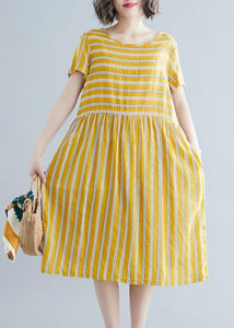 Organic yellow striped Cotton clothes o neck pockets tunic Dress