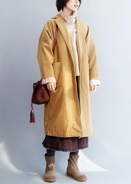 Organic yellow top quality trench coat Sewing  big pockets women coats