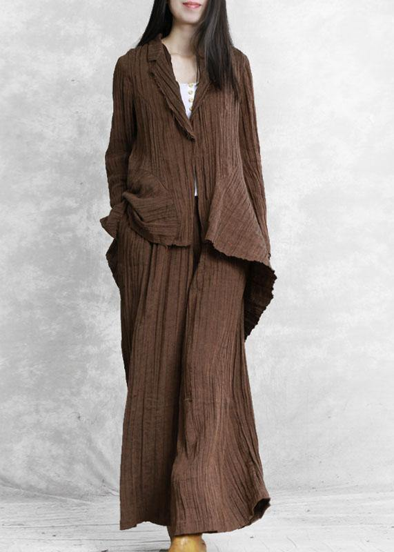 Original brand pleated chocolate suit irregular one-button jacket new two-piece suit