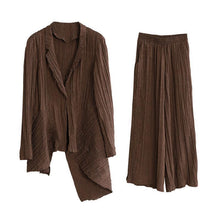 Load image into Gallery viewer, Original brand pleated chocolate suit irregular one-button jacket new two-piece suit