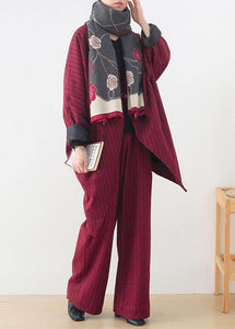 Original design red woolen suit female cocoon-shaped irregular mid-length coat autumn and winter
