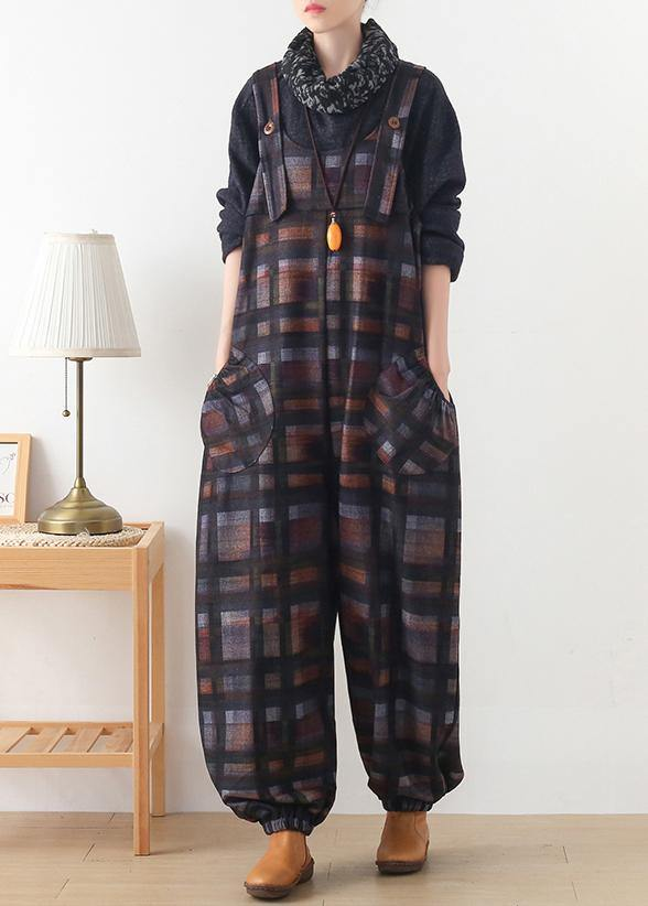 Original design worsted Jumpsuit British Classic Black Plaid Jumpsuit