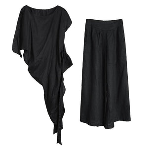 Original female irregular suit personality more wearing black shirt loose casual pants summer