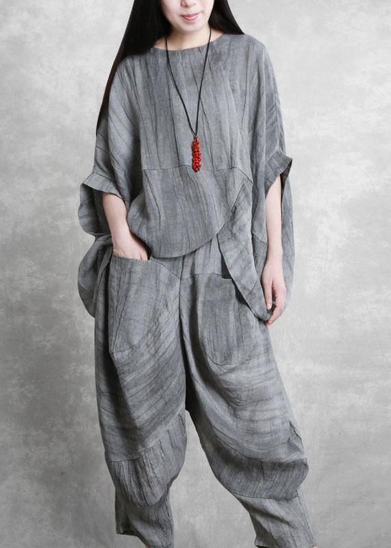 Original gray suit loose irregular top harem pants Zen two-piece autumn