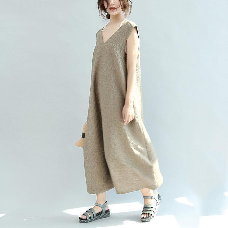 Original khaki casual linen dresses plus size v neck sundress sleeveless  maxi dress