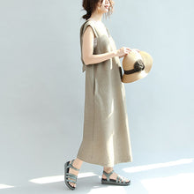 Load image into Gallery viewer, Original khaki casual linen dresses plus size v neck sundress sleeveless maxi dress