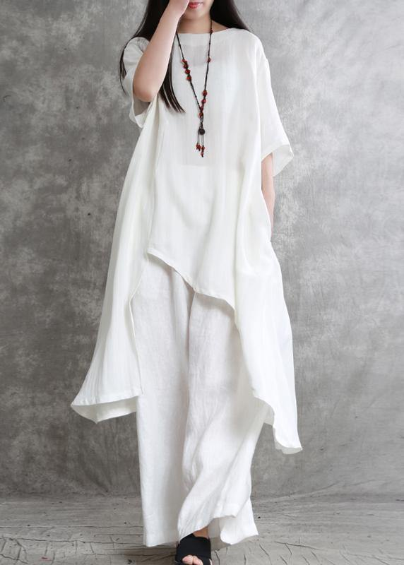 Original large size irregular cotton and linen suit female long section was thin white shirt wild wide-leg pants