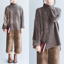 Load image into Gallery viewer, Oversized Chocolate knit sweaters women high neck warm winter knit tops