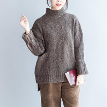 Afbeelding in Gallery-weergave laden, Oversized Chocolate knit sweaters women high neck warm winter knit tops