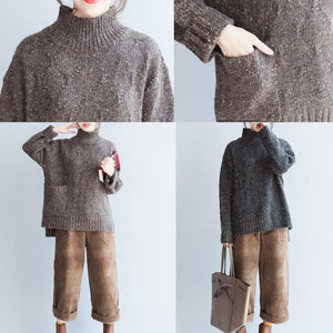 Oversized Chocolate knit sweaters women high neck warm winter knit tops