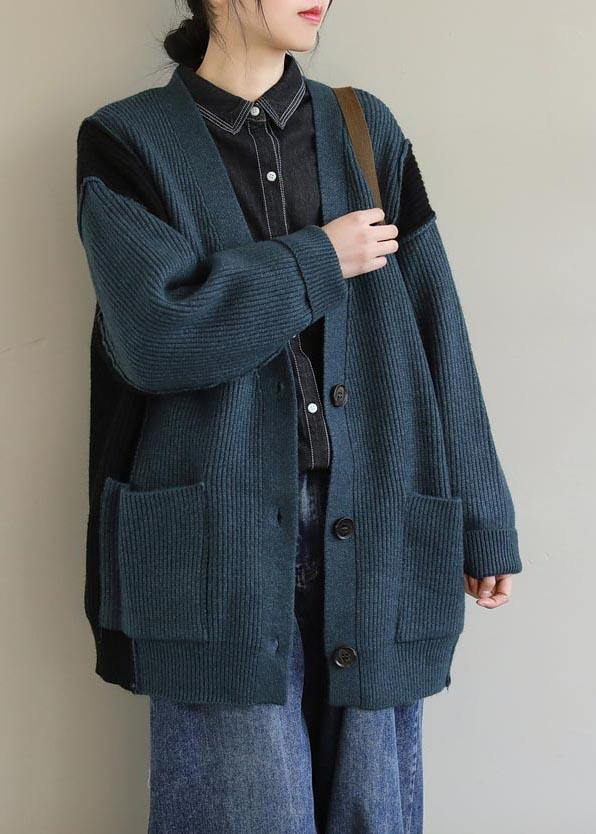Oversized Spring Green Knit Sweat Tops Oversize V Neck Button Down Sweater Tops