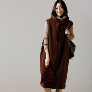 Oversized Sweater dress outfit Beautiful hooded khaki Ugly knitted tops hooded