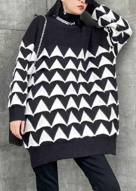 Oversized black Geometric knit top silhouette o neck plus size sweaters