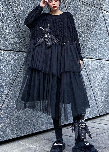 Oversized black Sweater Vintage o neck Three-dimensional decoration Big spring sweater dresses
